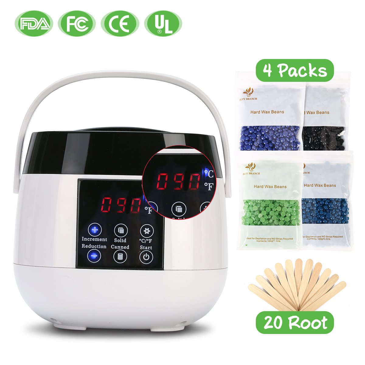 SUNCOM Wax Warmer, Portable Waxing Hair Removal Kit with LCD Digital Screen & Memory Function Electric Wax Pot Heater for Arm, Leg and Bikini Area, 4 Scents Hard Wax Beans+20 Wax Applicator Sticks
