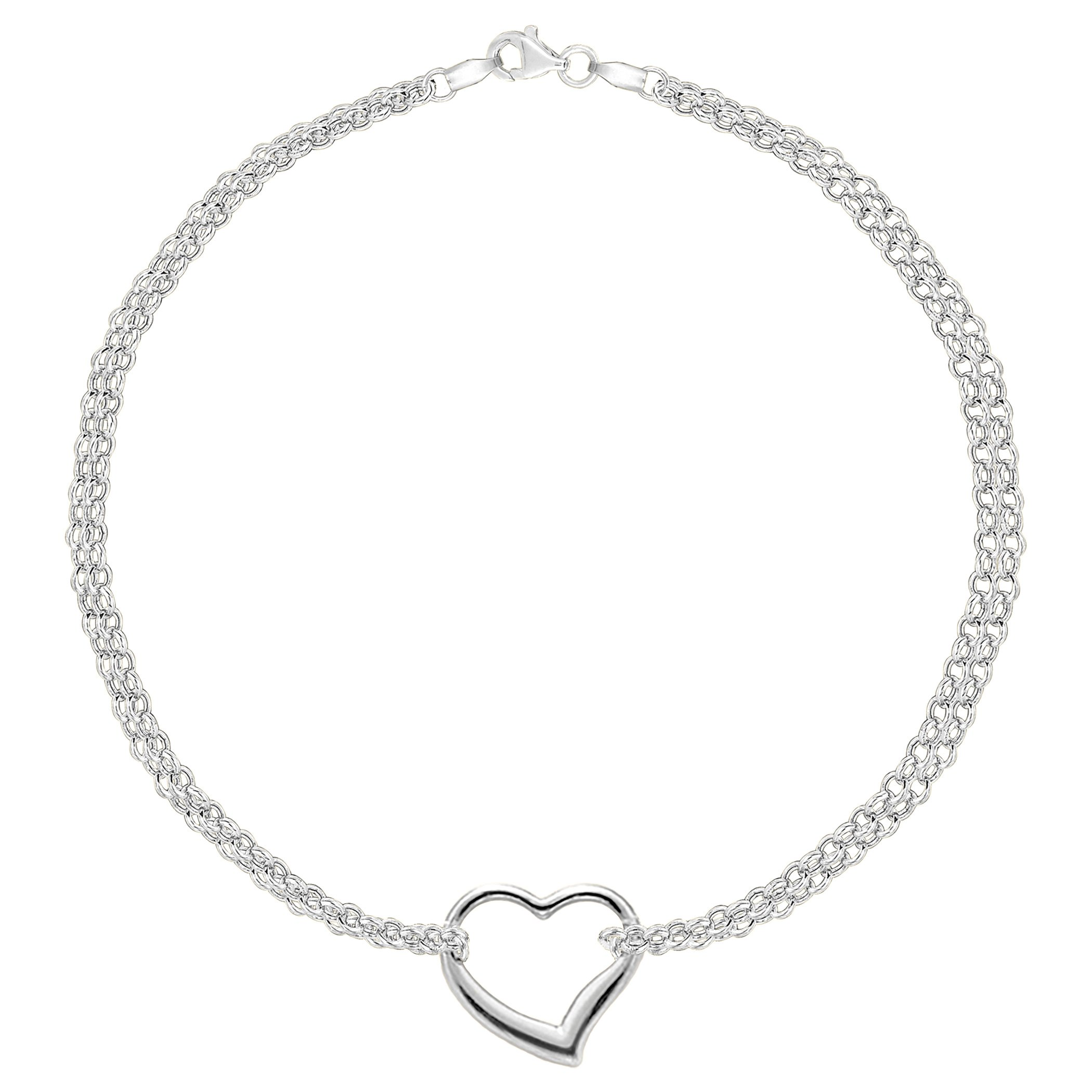 14K White Gold Double Strand With Heart Anklet, 10''