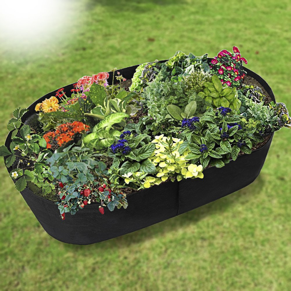 Xnferty Fabric Raised Garden Bed, 4x2 Feet Rectangle Breathable Planting Container Grow Bag Planter Pot for Plants, Flowers, Vegetables (Black)