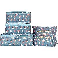 Koffer Organizer Reise Kleidertaschen, EASEHOME 6 Stück Wasserdichte Kofferorganizer Packtaschen Reisegepäck für Kleidung Schuhe Unterwäsche Kosmetik