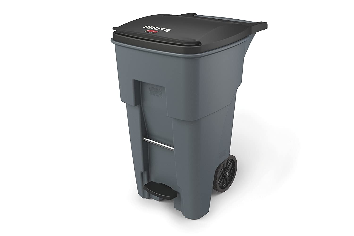 "Rubbermaid Commercial 1971968 Brute Step-On Rollout Trash Can, 65 gal/246 L, 44.740"" Height, 25.330"" Width, Gray"