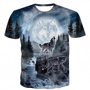 3cdbffee Space Galaxy Wolf T-Shirt Men 3D T-Shirts Harajuku Short Sleeve T ...