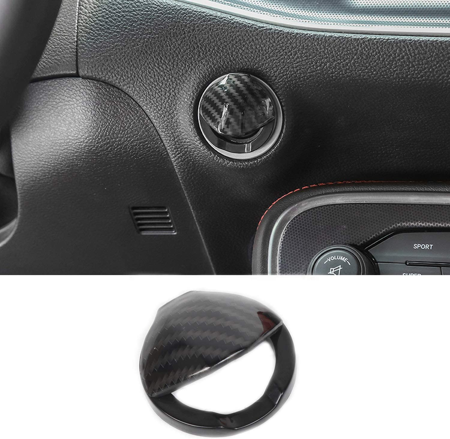 Voodonala for Challenger Real Carbon Fiber Headlight Switch Button Knob Trim for Dodge Challenger 2015-2020