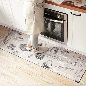 Ukeler Vintage Style Rubber Kitchen Rugs, Washable Nonslip Bathroom Rug  Runner Waterproof Wiper Floor Mats for Laundry/Warehouse,17.7\'\'×47.2\'\'