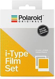 Polaroid Originals 4843 - Set de películas i-Type (1 Paquete Color, 1 N&B) Marco Blanco