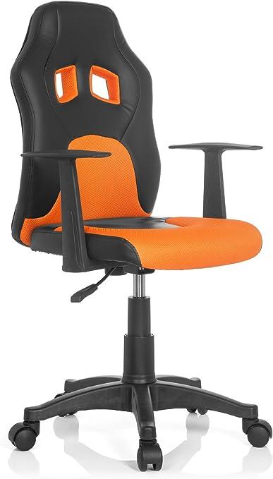 hjh Office 670710 Teen RAYCER AL Chaise de Bureau pour Enfant Tissu NoirOrange