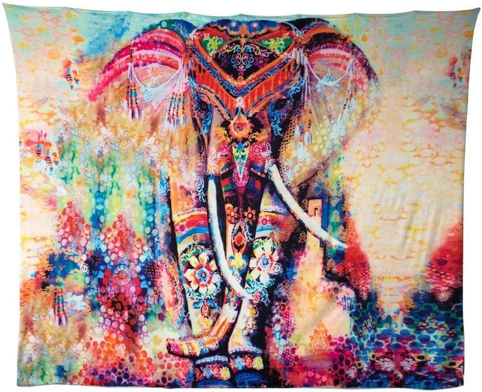 E02 Hailicare 150x130cm Psychedelic Elefant Blume Tapisserie Hippie Mandala Gypsy Bohemian Traditionelle indische Wandbehang Tabelle Vorhang Wand Decor Tisch Couch Bezug Picknick Decke Beach /Überwurf