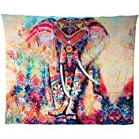 HailiCare 150 x 130 cm Wall Hanging Decor Psychedelic Elephant Floral Tapestry Hippie Mandala Gypsy Bohemian Indian Traditional Wall Hanging Sheet Curtain Wall Decor Table Couch Cover Picnic Blanket Beach Throw (Orange Elephant)