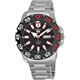 Seiko Men 5 Sports Monster Automatic Black Dial Stainless Steel Mens Watch SRP487, Silver