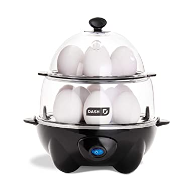 Dash DEC012BK Deluxe Rapid Egg Cooker Electric for Hard Boiled, Poached, Scrambled, Omelets, Steamed Vegetables, Seafood, Dumplings & More, 12 Capacity, with Auto Shut Off Feature, Black