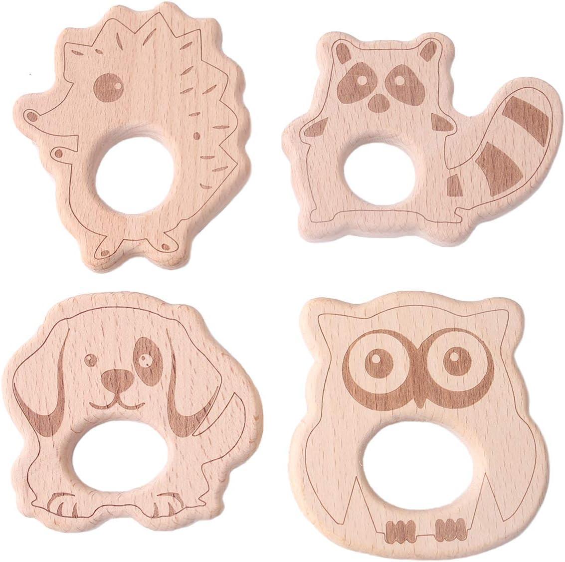 Promise Babe 4pc Kit Pendiente de Madera para Animales Diy Accesorios de Enfermería Mordedor Madera Erizo Mapache Búho Perro Juguete de Dentición para Bebés Juguetes Monterey
