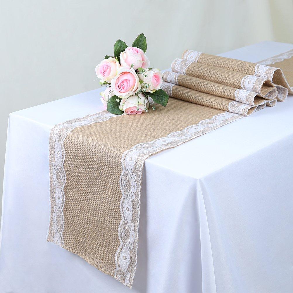 TRLYC Vintage Linen Burlap Lace Jute Table Runners Morden Wedding Table Restaurant Home Decor 12x108