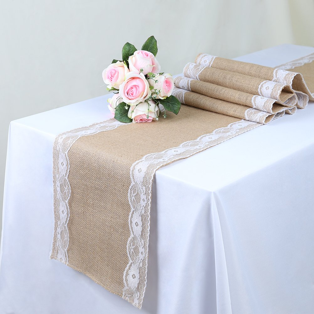 TRLYC Pack of Five Wedding 12 by 108-Inch Burlap White Lace Table Runner Hessian Table Cloth for Country Outdoor Wedding Party Decor by TRLYC (Image #3)