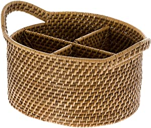 "KOUBOO 1020004 Laguna Oval Rattan Utensil and Bottle Basket, 9.75"" x 8.25"" x 6.25"", Honey Brown"