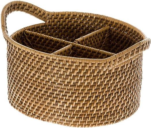 KOUBOO 1020004 Laguna Oval Rattan Utensil and Bottle Basket, 9.75 x 8.25 x 6.25 , Honey Brown