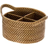 KOUBOO Laguna Oval Rattan Utensil and Bottle Basket, Honey Brown