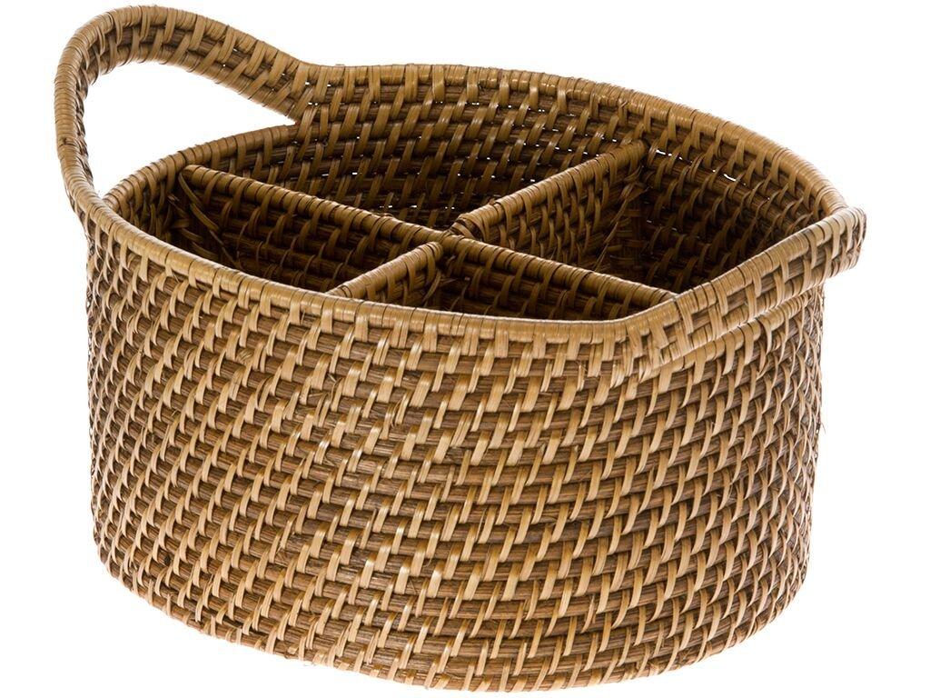 KOUBOO Laguna Oval Rattan Utensil and Bottle Basket, Honey Brown Contract Manufacturer 1020004