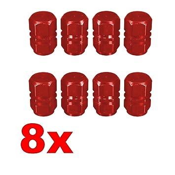 Adatech 8 x Tapones para válvula. Tapones para rueda coche, moto. Tapones para válvula de neumático. Color Rojo: Amazon.es: Coche y moto