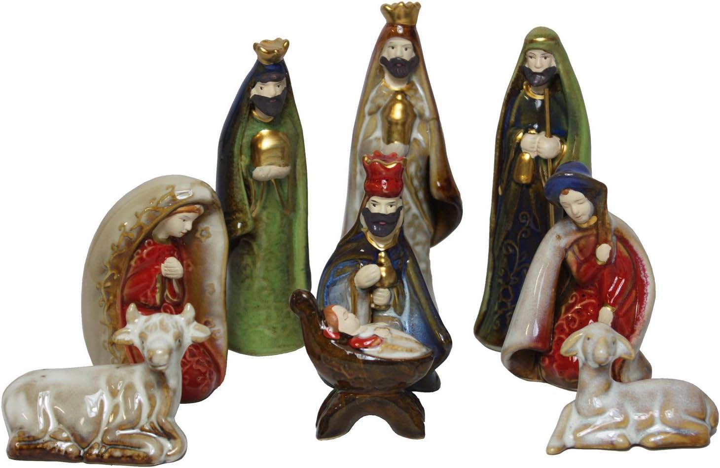Amazon Com Harvey J 9 Piece Ceramic Nativity Set Home Kitchen