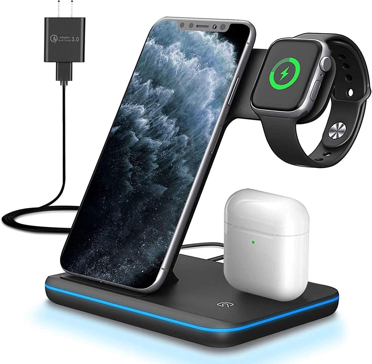 ZHIKE Wireless Charger, 3 in 1 Qi-Certified 15W Fast Charging Station for Apple iWatch Series 6/5/4/3/2/1, AirPods, Compatible with iPhone SE/11/11Pro/11Pro Max/XS MAX/XR/XS/X/8 Plus, Samsung S20/S10