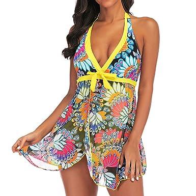 e3385d9958 Amazon.com: Women Plus Size Tankini Sets,Jchen Ladies Swimsuits Floral Print  Bowknot V-Neck Swimdress with Shorts Bathing Suits: Clothing