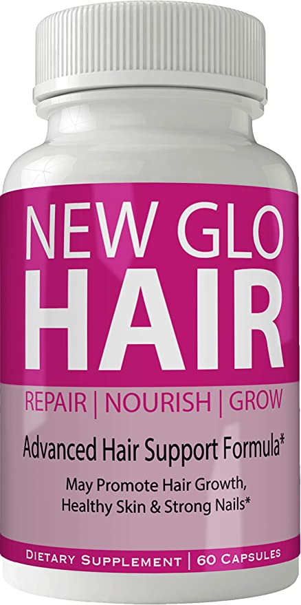 New Glo Hair Skin and Nails Supplement - Advanced Unique Hair Growth Vitamins and Minerals with Biotin - Gluten Free 60 Capsules - Hair Lash Skin and Nails Extra Strength Formula Growth Booster
