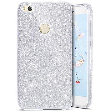 Coovertify Funda Purpurina Brillante Plateada Huawei P8 Lite 2017, Carcasa Resistente de Gel Silicona con Brillo Gris Plata para Huawei P8 Lite 2017