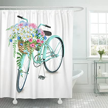 Emvency Shower Curtain Blue Vintage Watercolor Turquoise Bicycle With Beautiful Flower Basket Hand Summer Bike Aster