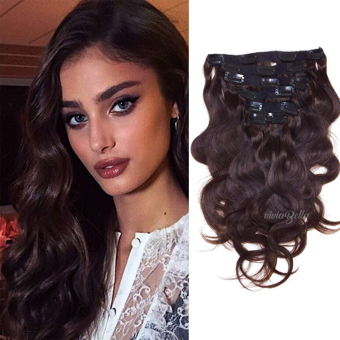 Amazon Body Wave Clip In Human Hair Extensions 100 Virgin