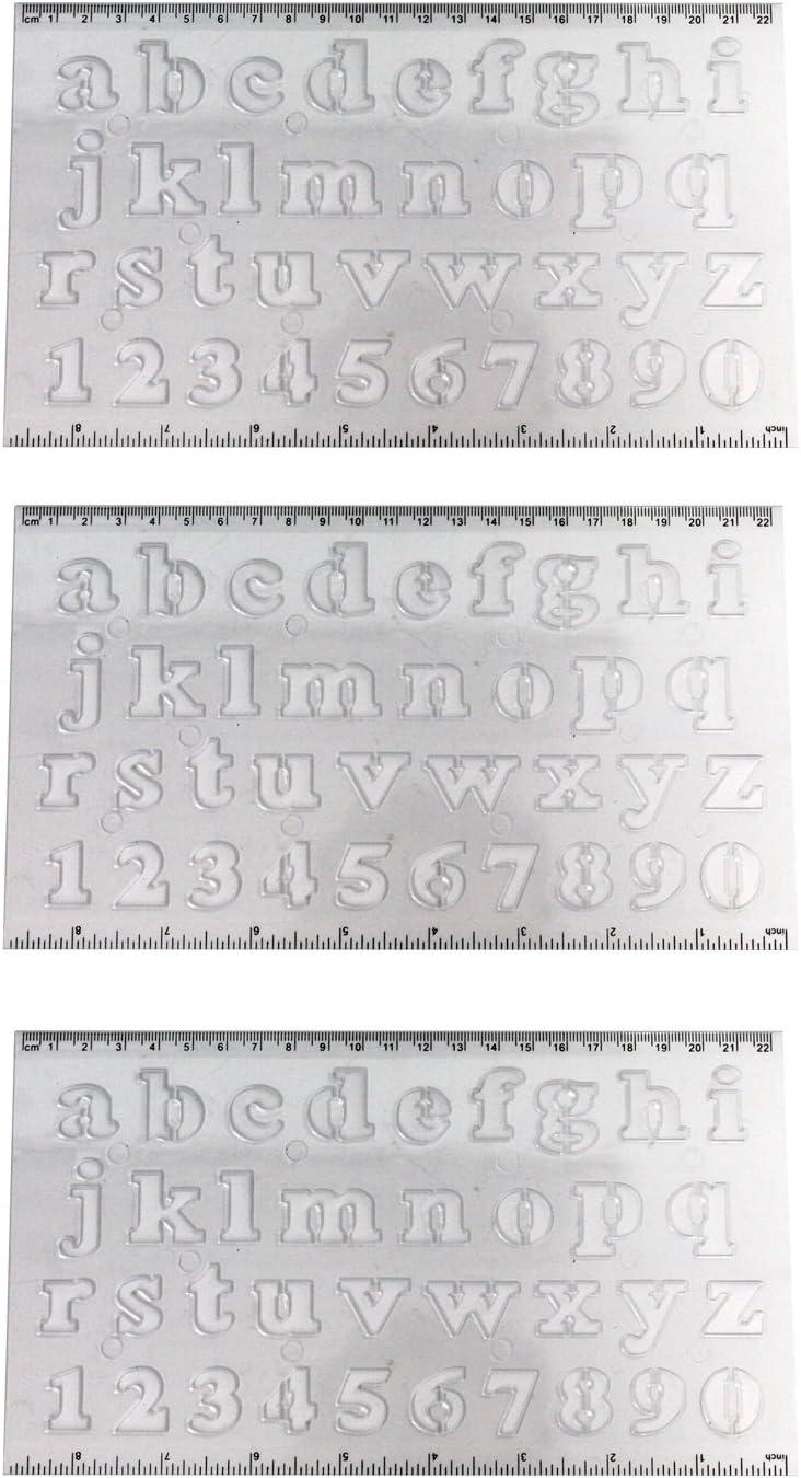 Acan Pampy - Pack de 3 Reglas con Plantilla de Letras y números ...