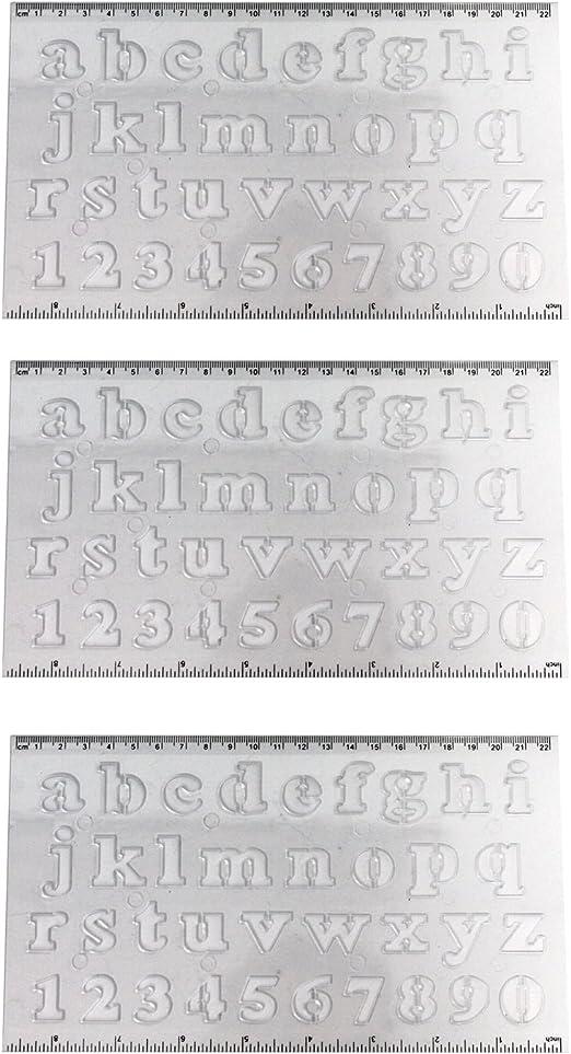 Acan Pampy - Pack de 3 Reglas con Plantilla de Letras y números: Amazon.es: Hogar