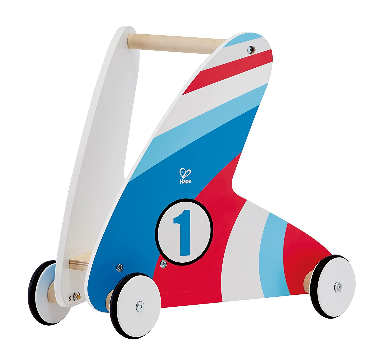 Award Winning Hape Racing Stripes Wooden Push and Pull Walker