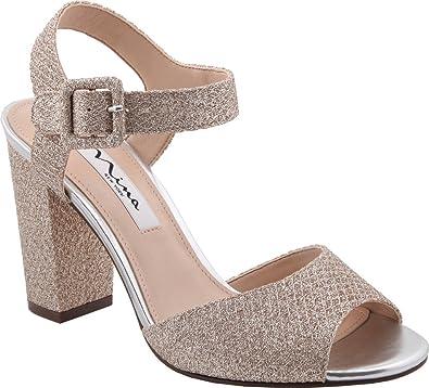 aa7e099d2 Amazon.com | NINA Women's Shirley Chunky Heeled Sandal, Soft Platino  Diamond Mesh Glitter, US 9 | Heeled Sandals