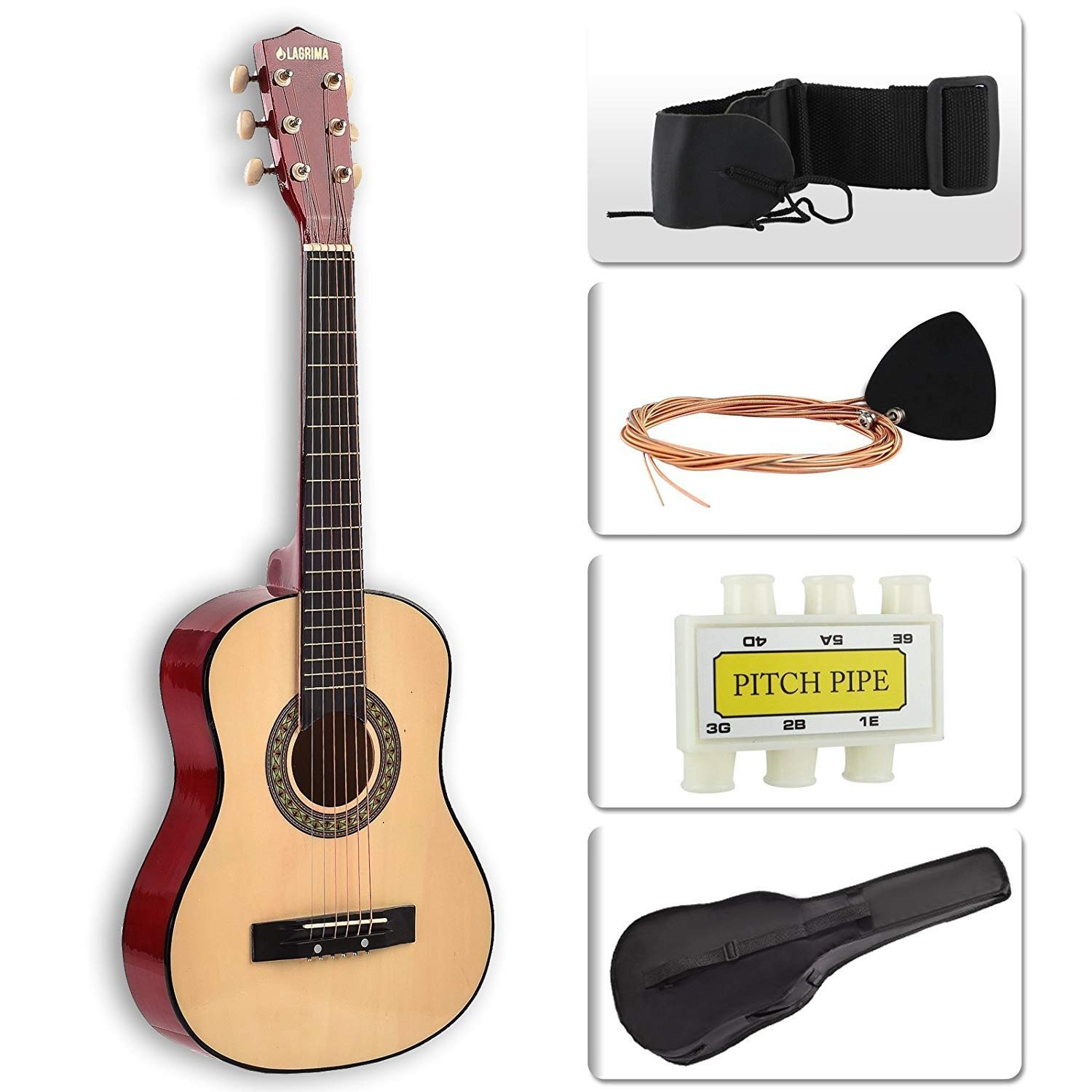 "LAGRIMA Acoustic Guitar Beginners with Guitar Case, Strap, Tuner & Pick Steel Strings for Kids and Adults (30"" Yellow)"