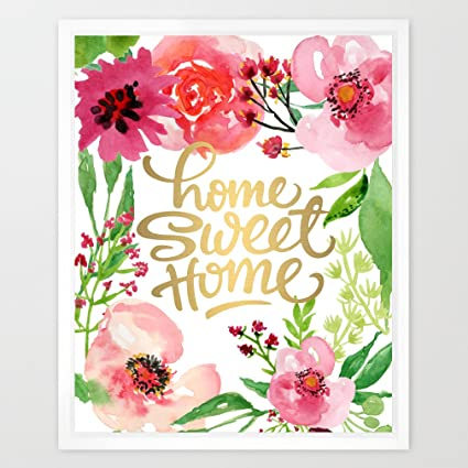 image about Home Sweet Home Printable identify : Eleville 8X10 House lovable residence Genuine Gold Foil and