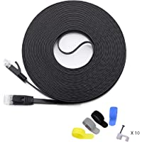 Cat 6 Ethernet Cable 50 ft (at a Cat5e Price but Higher Bandwidth) Cat6 Internet Network Cable - Flat Ethernet Patch Cable Short - Black Computer LAN Cable + Free Cable Clips and Straps