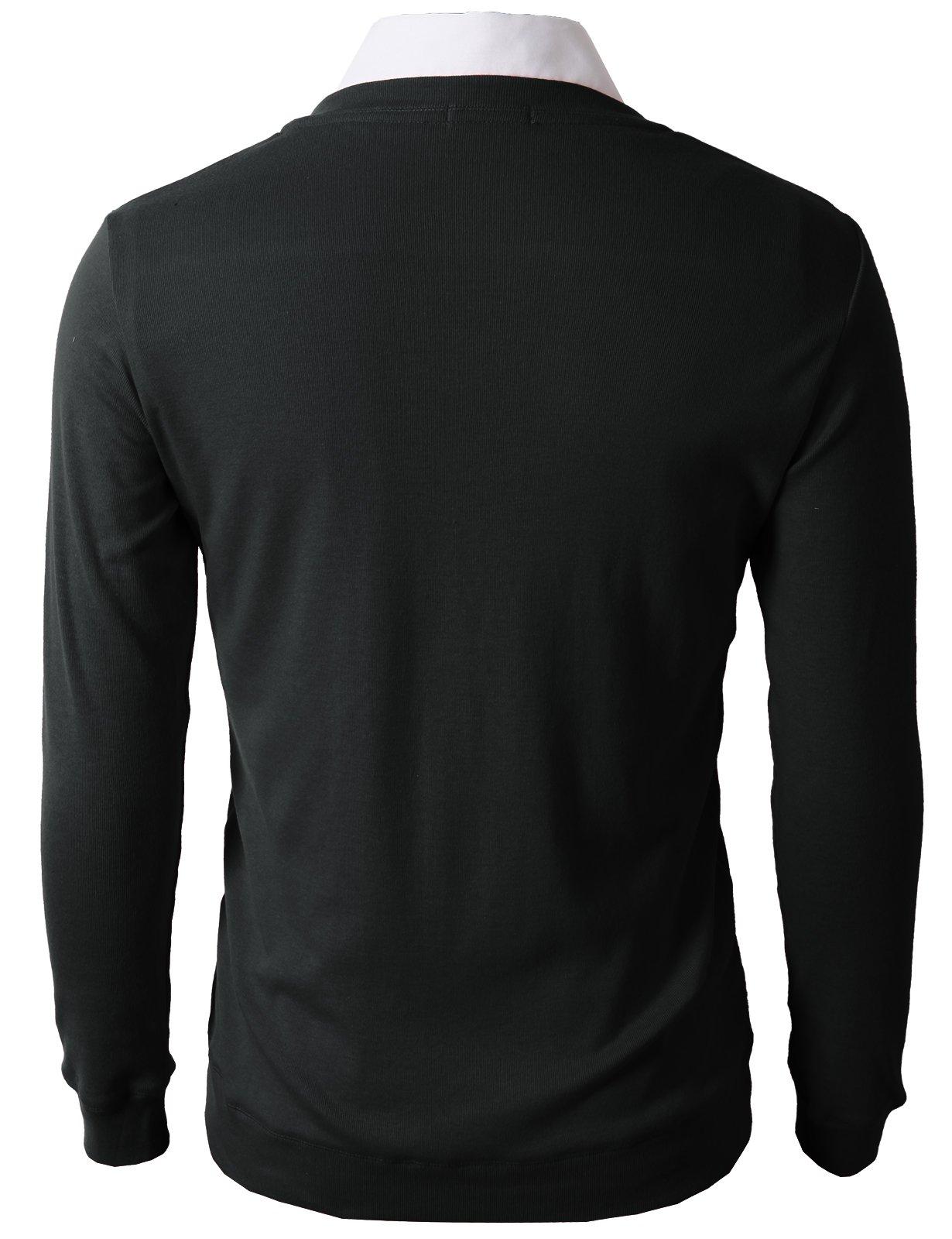 H2H Mens Slim Fit Light Weight V-Neck Cardigan Black US M/Asia L (CMOCAL025) by H2H (Image #4)