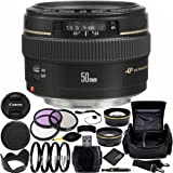 Canon EF 50mm f/1.4 USM Lens Bundle with Manufacturer Accessories & Accessory Kit for EOS 7D Mark II, 7D, 80D, 70D, 60D, 50D, 40D, 30D, 20D, Rebel T6s, T6i, T5i, T4i, SL1, T3i, T6, T5, T3, T2i