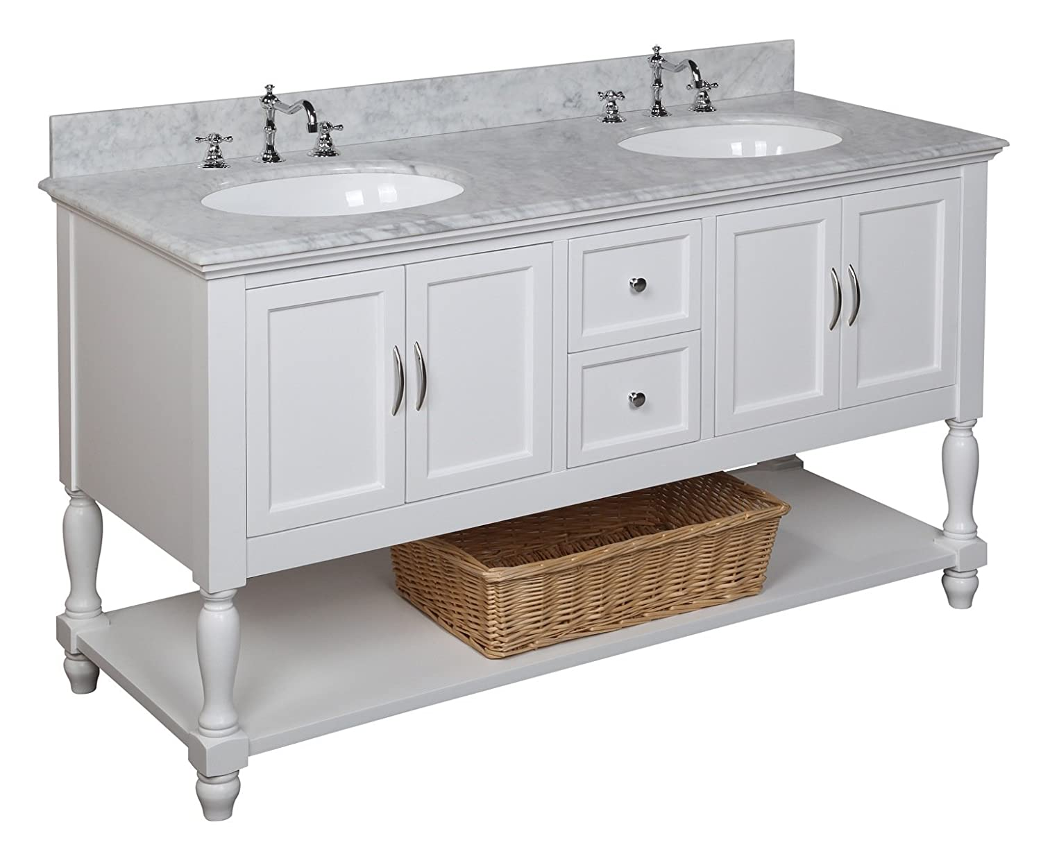 los angeles 10447 d4f4a Beverly 60-inch Double Bathroom Vanity (Carrara/White): Includes White  Cabinet with Soft Close Drawers, Authentic Italian Carrara Marble  Countertop, ...