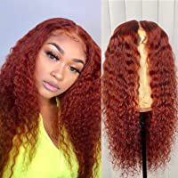 Full Lace Wig Orange Red Color Human Hair 13x4 Lace Front Hair 150% Density Curly Glueless Pre Plucked Hair Line With Baby Hair for Black Women (20 inch, 13x4 lace frontal wig)