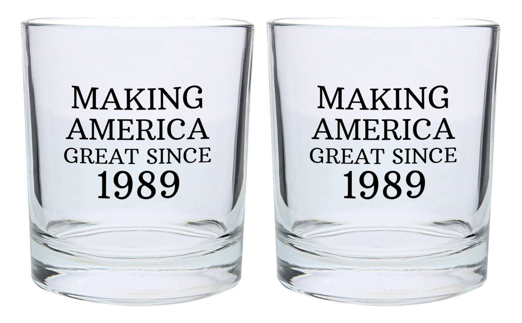 30th Birthday Gifts for Brother Sister Making America Great Since 1989 30th Birthday Party Supplies Gift Lowball Glasses 2-Pack Round Lowball Tumbler Set Black by ThisWear (Image #1)