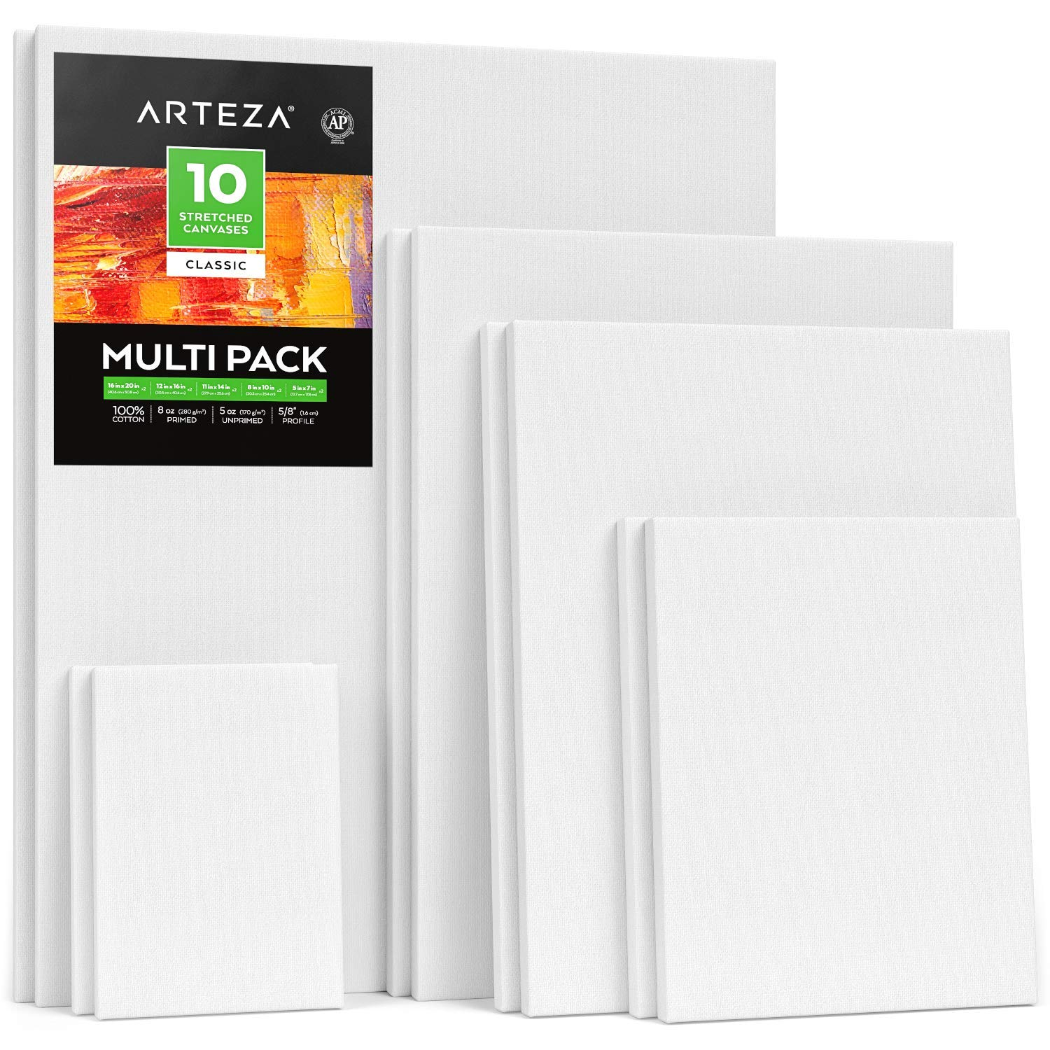 Arteza Stretched White Blank Canvas Multi Pack, 4x4'', 5x7'', 8x10'', 9x12'', 11x14'' (2 of Each) Set of 10, Primed, 100% Cotton, for Acrylic, Oil, Other Wet or Dry Art Media, for Artists by ARTEZA