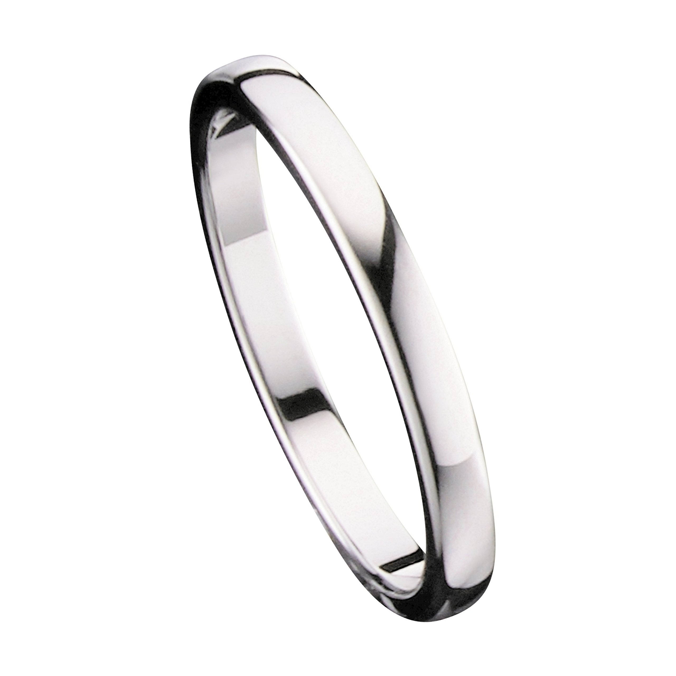 MJ 2mm Tungsten Carbide Classic Wedding Ring Polished Band Thin Size 4.5