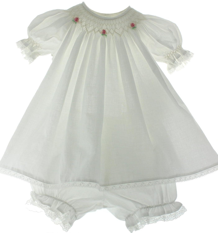 Amazon.com: Infant Girls White Smocked Dress Bloomer Set Lace Trim ...