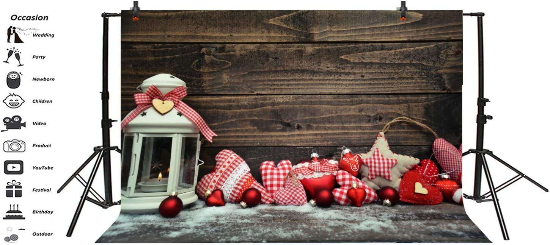 8x6.5ft Wood Board Backdrop Vinyl Photography Background Happy Christmas Ball Retro Lantern Christmas Decoration Snowflake Children Kids Portrait Photo Studio Props