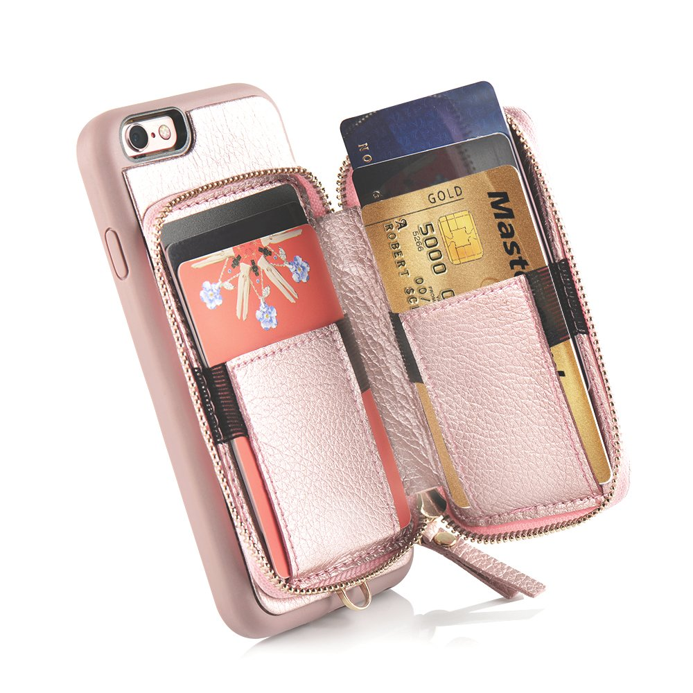 iPhone 6 Plus Wallet Case, iPhone 6 Plus Card Holder Case, ZVE iPhone 6 Plus Leather Cases with Credit Card Slot & Zipper Wallet Purse, Protective Cover for Apple 6 Plus/Apple 6s Plus- Rose Gold by ZVEdeng (Image #5)