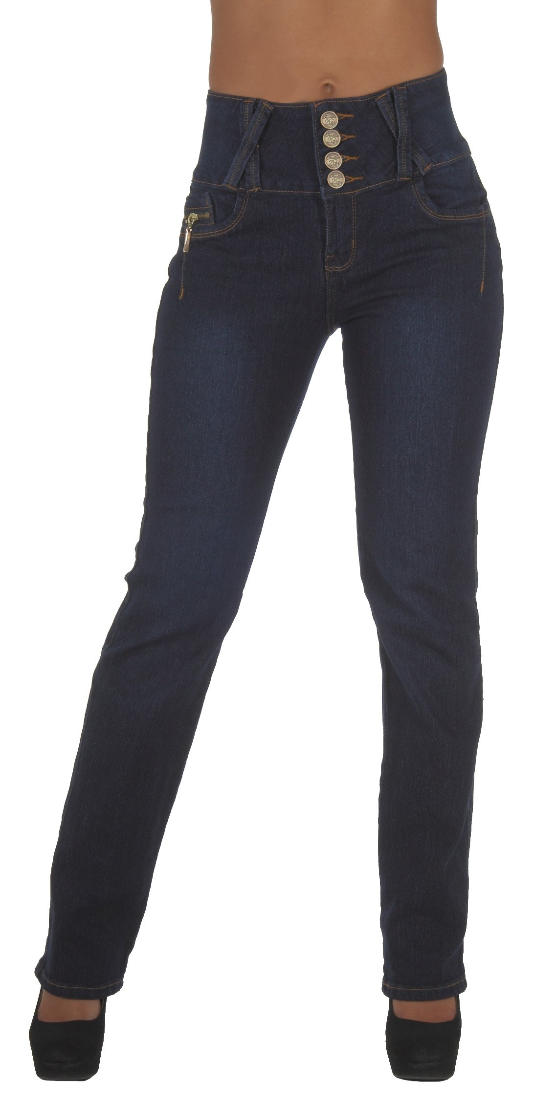 Style N545-1A-BT– Colombian Design, Butt Lift, High Waist, Boot Leg Jeans in Dark Blue Size 13
