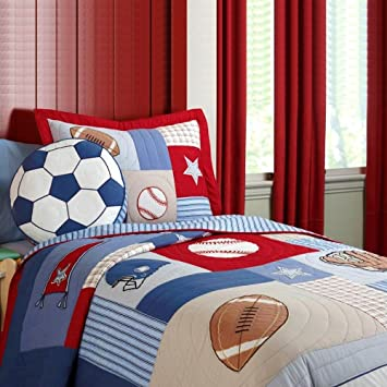 NEWLAKE Kids Quilt Bedspread Set 2 Pieces Of Comforter Sets Baseball Pattern Twin