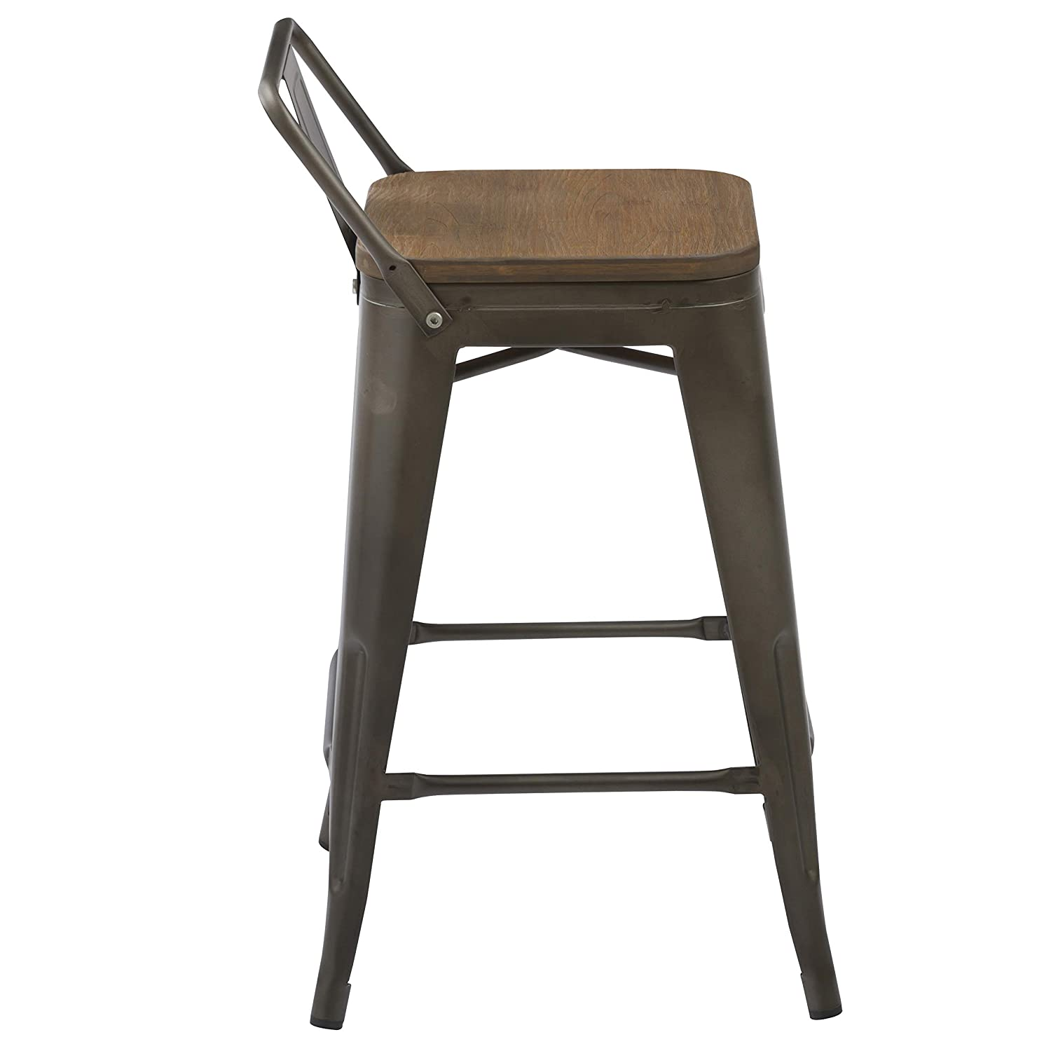 BTExpert Low Back Chair Industrial 24 Rustic Metal Wood Indoor Outdoor Counter Height Bar Stool Set of 4, 24 inch, Antique Bronze