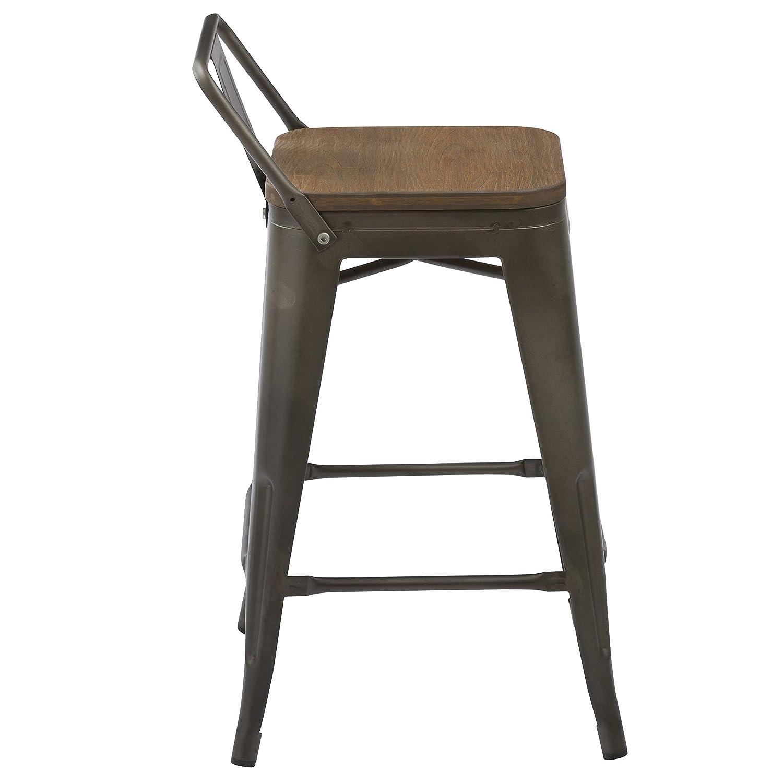 BTExpert Low Back Chair Industrial 24 Rustic Metal Wood Indoor Outdoor Counter Height Bar Stool Set of 4, 24 inch, Antique Bronze